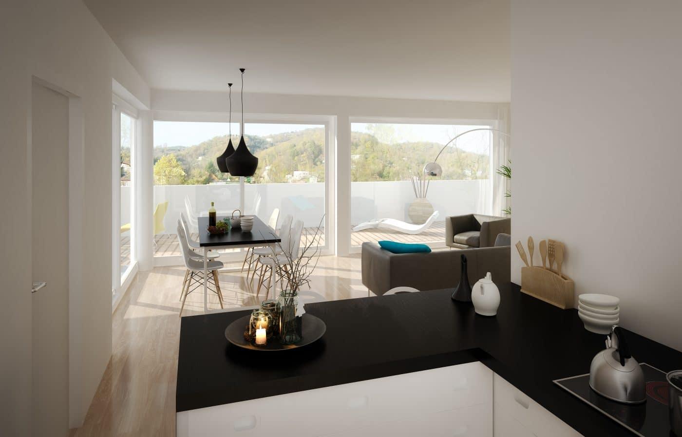 Ansicht Küche und Esszimmer