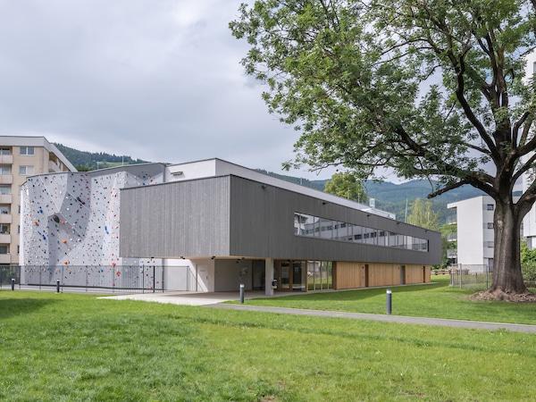 Neue Sporthalle in Leoben, Außenansicht